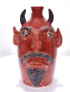 Jerry Brown. Red Devil Face Jug.