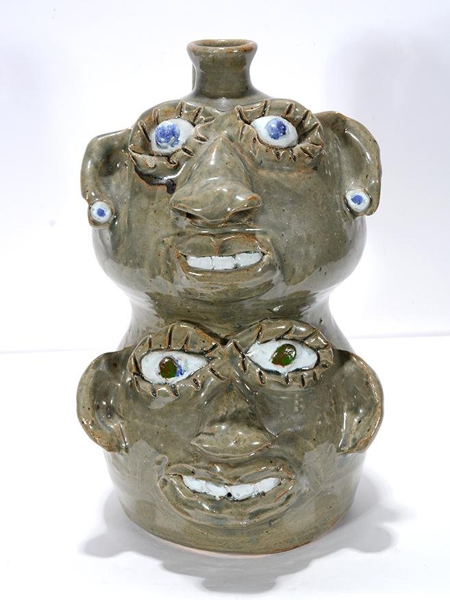 Jerry Brown. Woman & Man Dbl Stack Face Jug.
