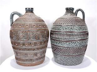 Jane Brown & Allen Ham. Large Blue Glaze Pots.