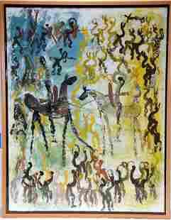 Purvis Young. 2 Warriors on Horseback Masterpiece.