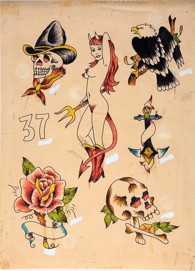 Flash Art. Devil Girl, Skulls, Eagle Tattoo Designs.