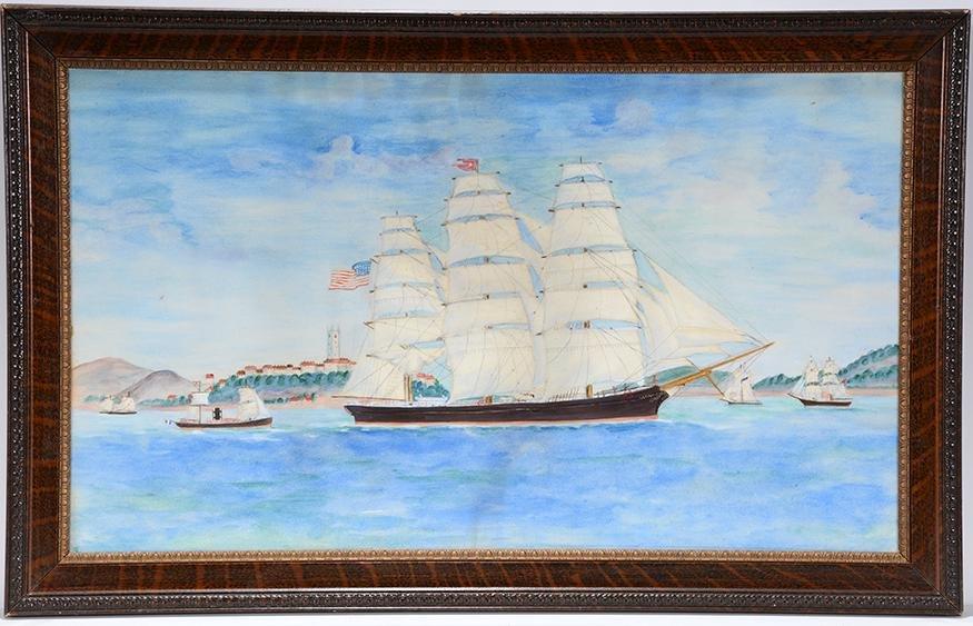 American Sailing Ship On Hudson.