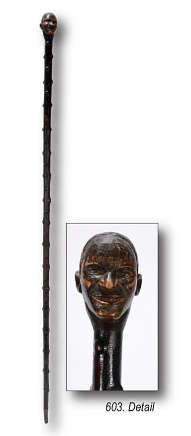 African American Man's Bust Walking Stick.