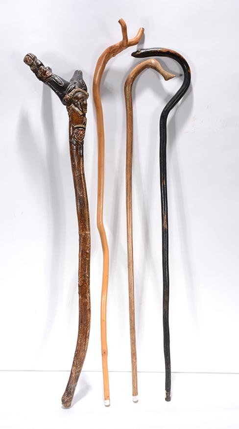 4 Crooked Top Canes With Faces, Snakes & Animals.