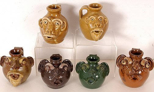 3: Jack Maness. Six Multi-Colored Face Jugs