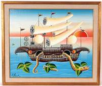 267: Erich Staub. Large Boat w Horned Sails & Serpent