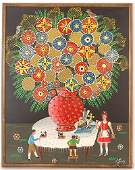268: Erich Staub. Red Vase on White Table