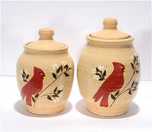 Anita Meaders. Sugar Jars With Red Cardinals.