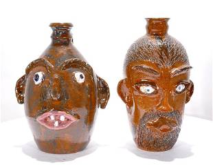 Cole Pottery Pair of Face Jugs