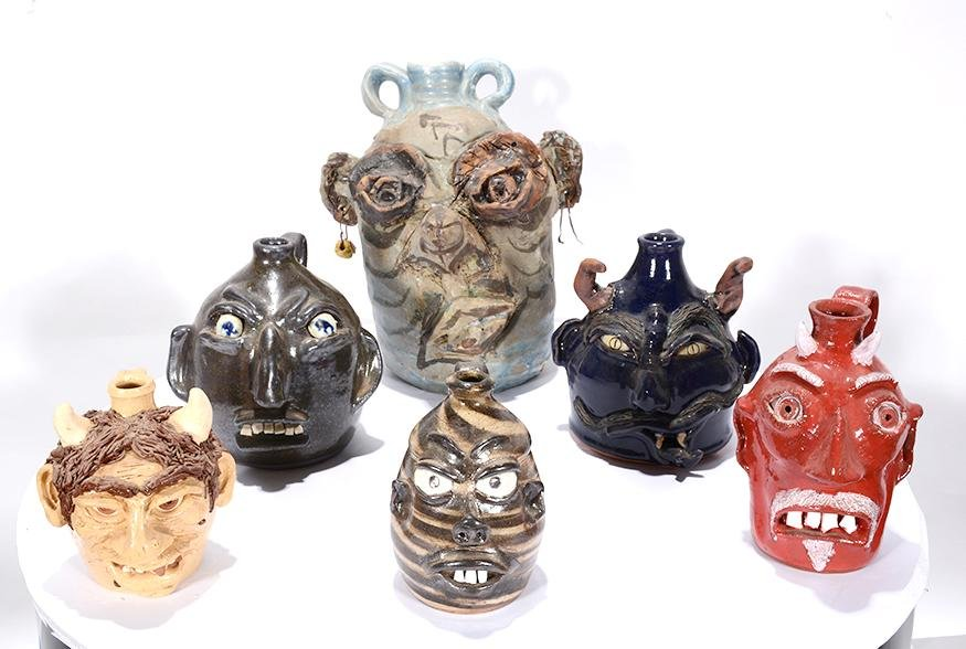 Variety of Potters.  6 Face Jugs.