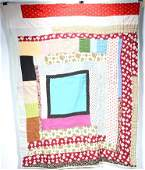 African Am (attrib) Abstract Cabin Strip Quilt Top.