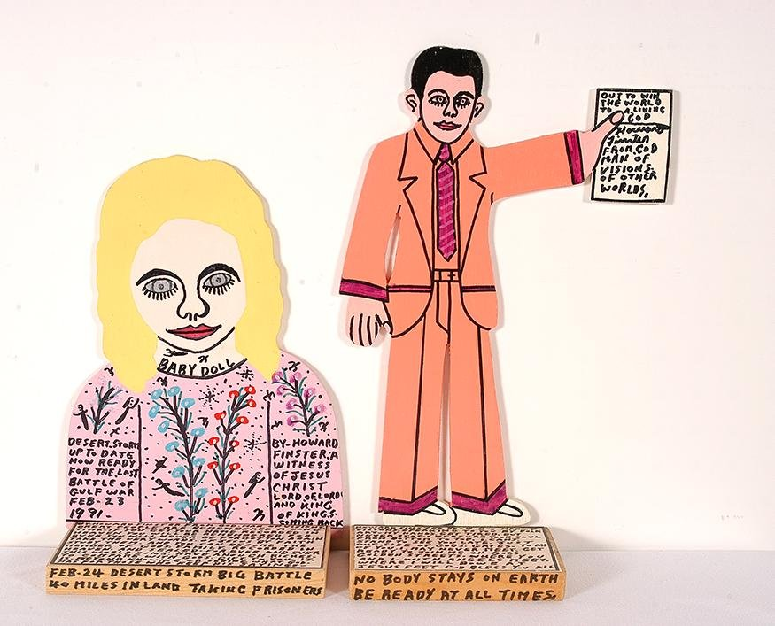 Howard Finster. Baby Doll & Howard With Bible.