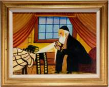 """Isador """"Grand Pa"""" Sommer. Rabbi In Study."""