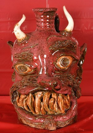 3: Josh Boock, Red Devil Face Jug.