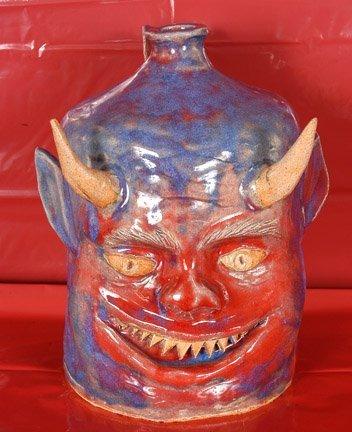 4: Robert Asa Crook, Red & Blue Devil Jug.
