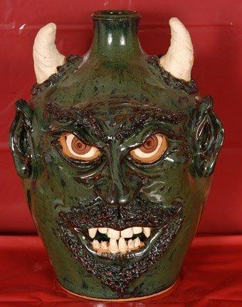 7: Sandy Cole, Green Devil Face Jug
