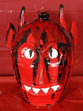 9: Mark Merritt, Red & Black Devil Jug.