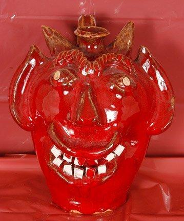 14: Ben Allman, Red Devil Face Jug.