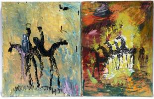 Purvis Young. Horse Paintings On Canvas.
