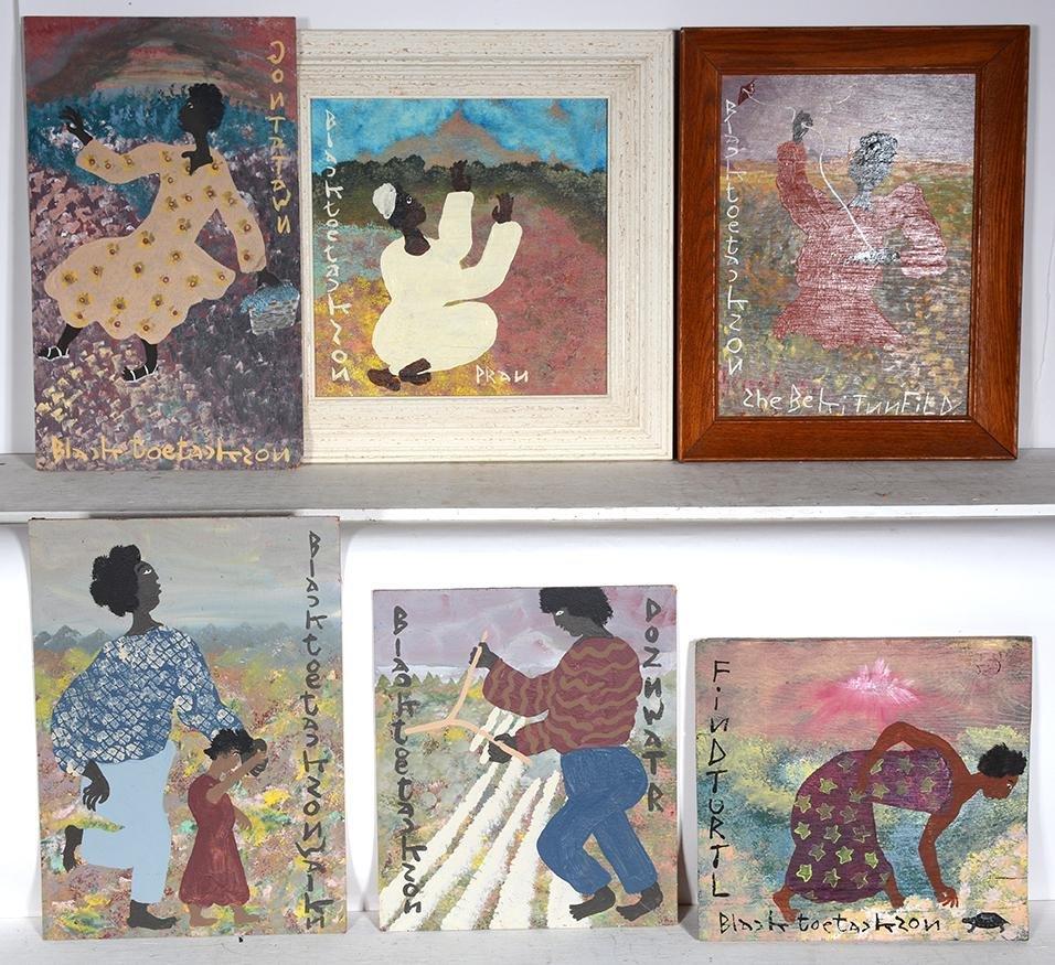 Black Joe Jackson. 6 Original Paintings.