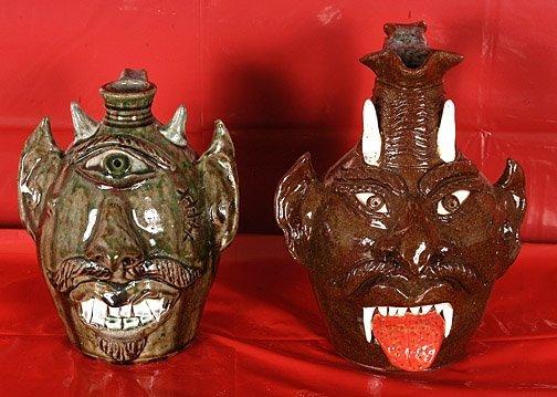 6: Albert Hodge.  2 Devil Face Jugs.