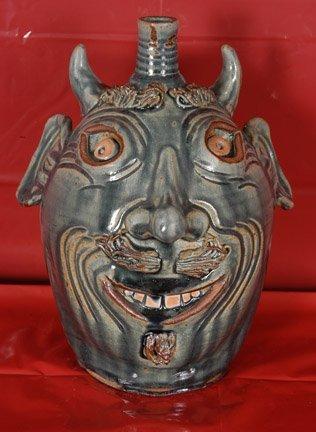 7: Karen LaBarga. Blue Devil Face Jug.