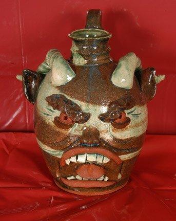 23: Yvette Lepley. Devil Face Jug w Ram Horns.