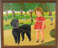 319: Erich Staub. Girl with Large Black Poodle.