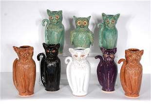 Sandy Cole N. Cole Pottery. 7 Cats & Owl.