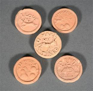 George Ohr. 5 Whore House Tokens.