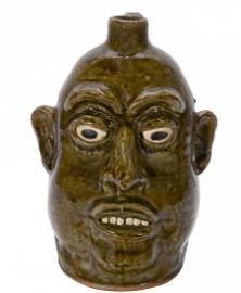 Lanier Meaders. Tall Peanut Head Face Jug.
