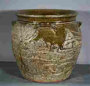 Michael & Melvin Crocker. 6 Gal Scenic Storage Jar.