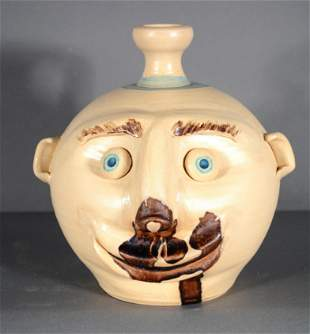 Roger Corn. Early White Face Jug With Glass Eyes.