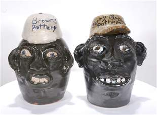 Jerry Brown. Face Jugs with Pottery Caps.