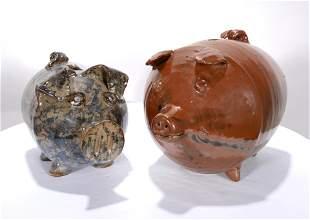 E. Miller & J. Brown & A. Ham. Pottery Pig Banks.
