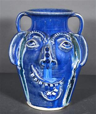 Charles Lisk. Blue Face Vase With Glass Drips.