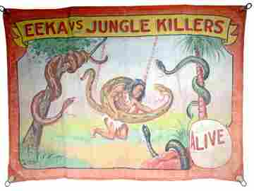 Fred Johnson. Eeka Vs. Jungle Killers Circus Banner.