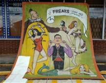 Duncan & Co. Freaks Past and Present Circus Banner.