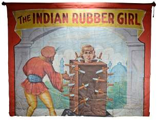 Side Show Banner. The Indian Rubber Girl.
