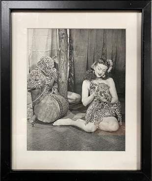 Show Girl with Leopard Cub & Man In Costume Vernacular