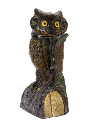 J. & E. Stevens, Co. Owl Turns Head Mechanical Bank.