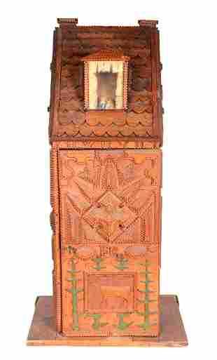 F.G. Tramp Art Lock Box With Lid.