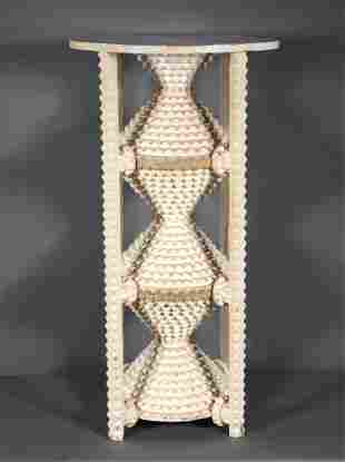 Three Tiered Circular Tramp Art Pyramid Plant Stand.