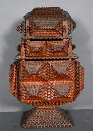 Three Story High Tramp Art Puzzle Box.