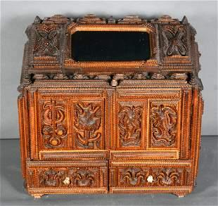 Keep Safe Tramp Art Box With Mirror and Secret Lock.
