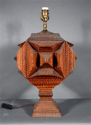 Stout Four-Sided Tramp Art Pyramid Lamp.