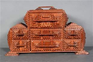 Initialed 'A.O.' Tramp Art Jewelry Box.