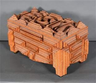 Karl Adleff. Made For The One I Love Tramp Art Box.