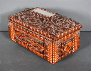 Tramp Art Box With Mirror On Top & Delicate Details.