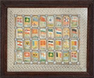 Tramp Art Frame With World Flags Inside Mini Frames.